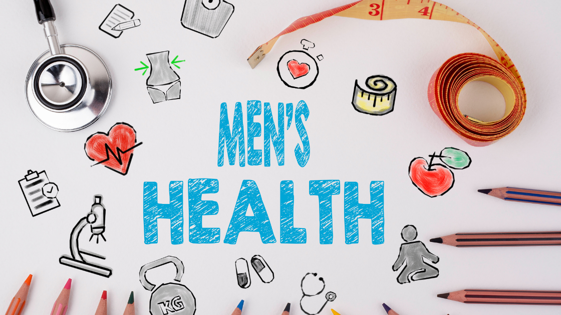 Graphic image saying 'Men's Health' featuring cartoon pictures of health-related topics