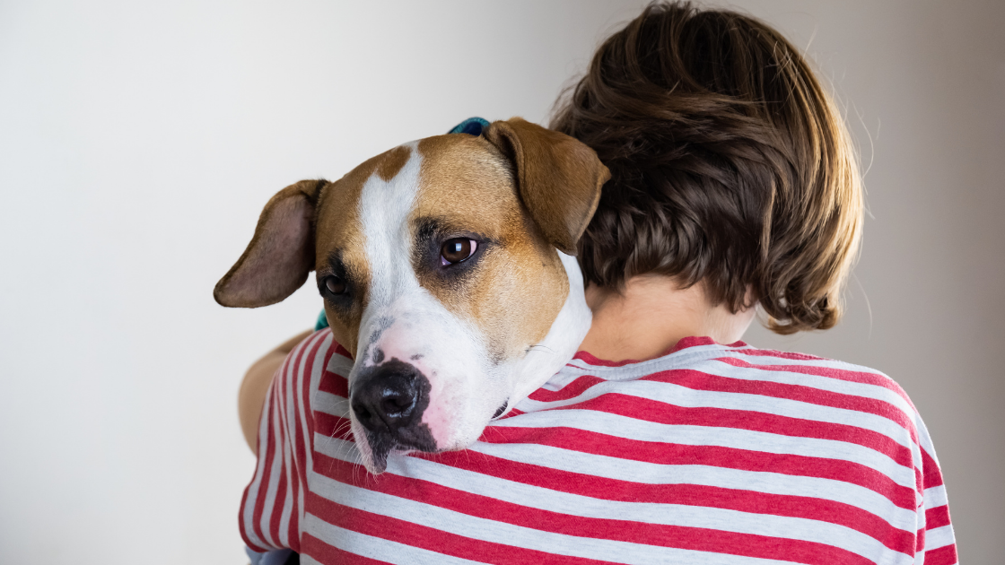 Woman wearing a striped t-shirt cuddling a brown and white dog