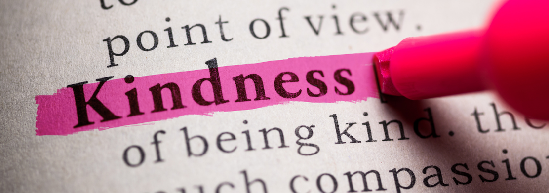 The word 'Kindness' highlighted in pink